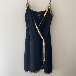 Sheri Bodell Gold Embellished Front Wrap Dress